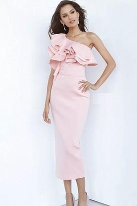 Jovani Pink Scuba One Shoulder Tea Length Cocktail Dress
