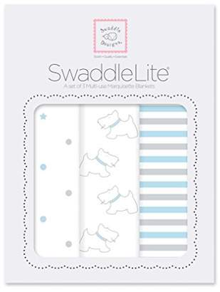 Swaddle Designs Marquisette Swaddle Blankets, Premium Cotton Muslin, SwaddleLite Set of 3, Little Doggie, Pastel Blue