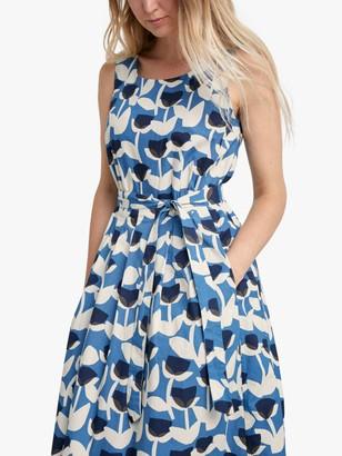 Seasalt Belle Floral Print Fit and Flare Dress, Blue