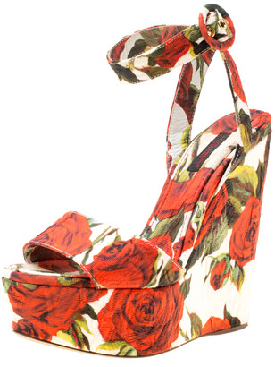 Dolce & Gabbana Multicolor Floral Printed Fabric Platform Wedge Sandals Size 37.5