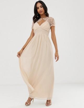 Little Mistress detachable embroidered mesh cape chiffon maxi dress-Beige