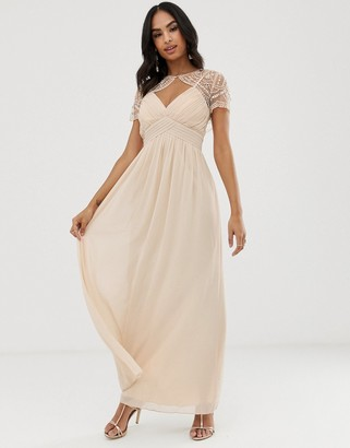 Little Mistress detachable embroidered mesh cape chiffon maxi dress