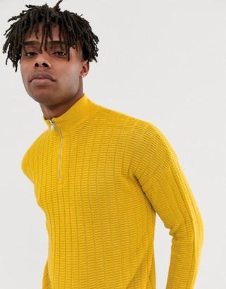 Asos Design DESIGN oversized textured knit half zip jumper in yellow