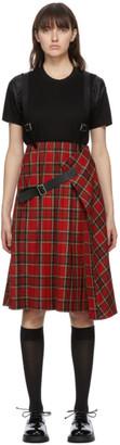 Noir Kei Ninomiya Red Wool and Leather Suspender Skirt