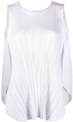 Pleats Please Issey Miyake Pleated Cocoon-Back Tank Top