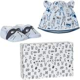 Little Marc Jacobs Blue Animal Print Jersey Hat and Booties Gift Set