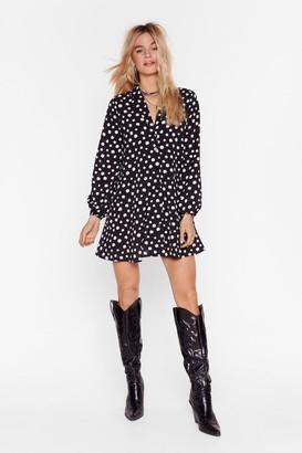 Nasty Gal Womens Polka Dot Mini Shirt Dress with V-Neckline - Black