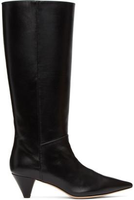 Joseph Black Leather Mid-Calf Boots