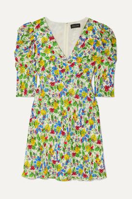 Saloni Colette Floral-print Crepe De Chine Mini Dress