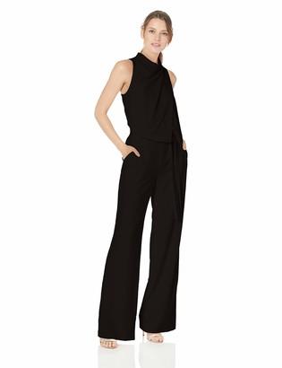 Halston Women's Sleeveless Cowl Drape Jumpsuit w Sash
