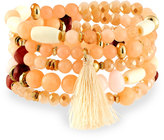 Nakamol Beaded Stone Stretch Bracelet, Peach/Cream Mix