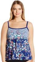 Maxine Of Hollywood Women's Plus Size Tropical Trip Double-Tier Tankini with Adjustable Straps