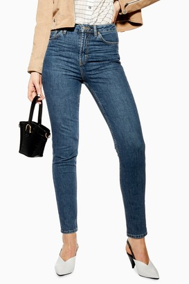 Topshop Womens Mid Blue Orson Skinny Jeans - Mid Stone