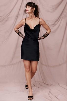Nasty Gal Womens Sought After Satin Cowl Dress - Black - 4, Black