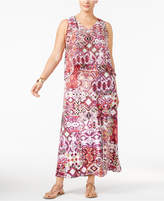 NY Collection Petite Plus Size Printed Layered Maxi Dress