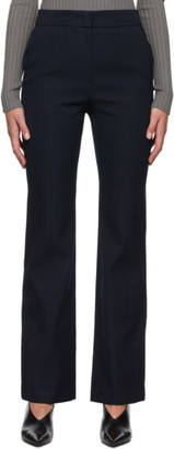 System Navy Wool Slit Hem Trousers