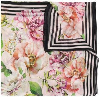 Dolce & Gabbana Floral Rose Print Scarf