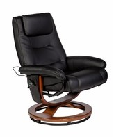 Reclining Heated Massage Chair with Ottoman Charlton Home Fabric: Black