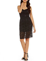 As U Wish Spaghetti-Strap Sequin Lace Sheath Dress