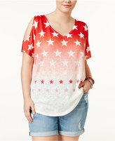 ING Trendy Plus Size Star-Print Cold-Shoulder T-Shirt
