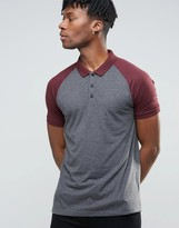 Asos Contrast Raglan Polo Shirt In Charcoal/Red