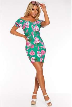 Quiz Green and Pink Floral Bardot Puff Sleeve Dress