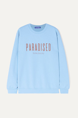 PARADISED Printed Cotton-blend Jersey Sweatshirt - Light blue