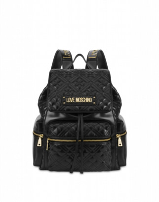 Love Moschino Quilted Backpack With Lettering Logo Woman Black Size U It - (one Size Us)