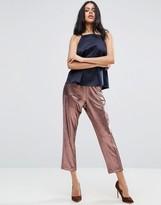 Asos Metallic Pleated Plisse Peg Pants