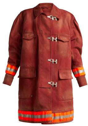 Calvin Klein Oversized Cotton Twill Firefighter Coat - Womens - Burgundy