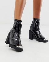 Asos Design DESIGN Exchange chunky sock boots in black patent