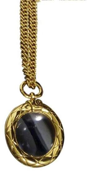 Chanel Coco Mark Gold-Tone Metal Coco Mark CC Logo Loupe Pendant Necklace