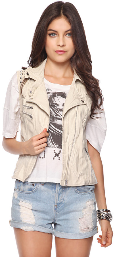 Forever 21 Studded Faux Leather Vest