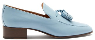 Loewe Pompom Tasselled Leather Loafers - Light Blue