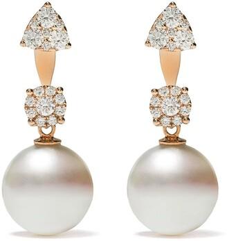 Yoko London 18kt rose gold Novus South Sea pearl and diamond earrings