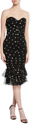 Marchesa Notte Strapless Sequined Polka Dot Ruched Dress