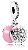 Pandora Authentic Heart Dangle Charm, Pink Enamel, Engraving & CZ 792149EN24