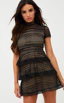 PrettyLittleThing Black Lace High Neck Skater Dress