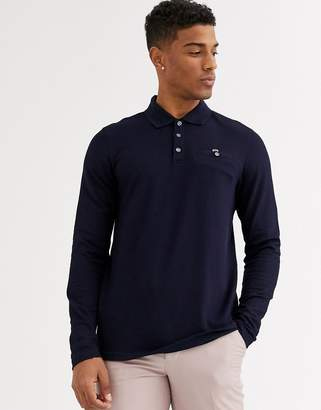 Ted Baker long sleeve polo with waffle knit in navy