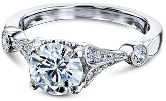 Annello by Kobelli 14k White Gold 1 1/4ct TGW Vintage Bell Heart Shank Bar Accent Moissanite and Diamond Engagement Ring