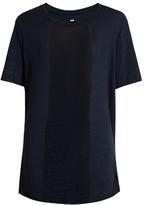 Raquel Allegra Shredded-front cotton-blend T-shirt