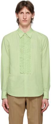Dries Van Noten Green Ruffles Shirt