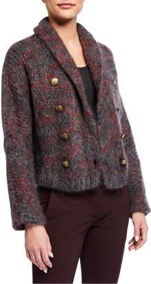Brunello Cucinelli Mohair-Cashmere Melange Cropped Cardigan