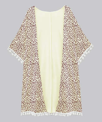 A.T.U.N. Women's Open Cardigans cream-brown - Cream & Brown Leopard Short-Sleeve Tassel-Hem Open Cardigan - Women & Plus