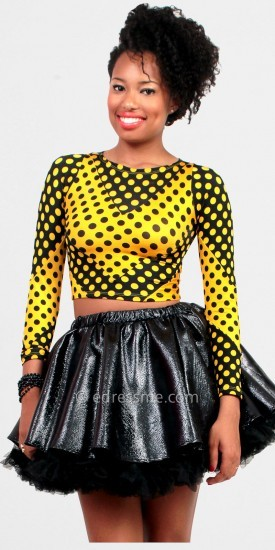 Yellow Black Crop Top by Rue 107