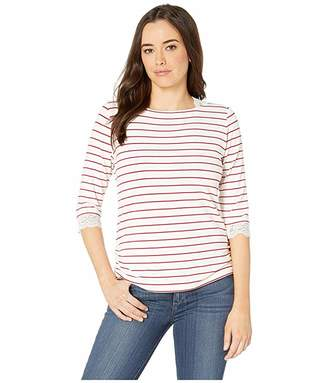FDJ French Dressing Jeans Yarn-Dye Stripe Nautical Top with Lace