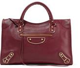 Balenciaga Metallic Edge City Textured-leather Tote - Burgundy