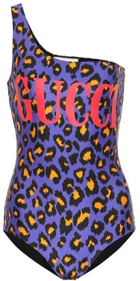 Gucci One-shoulder leopard-print swimsuit