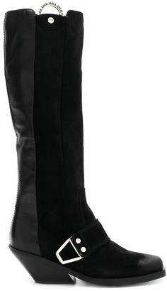 Diesel Panelled Buckle Boots
