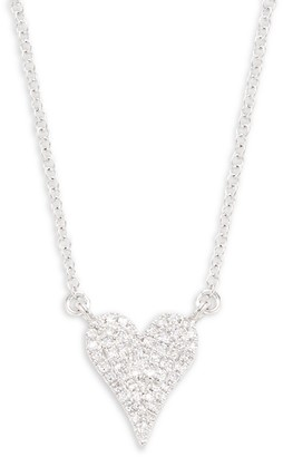 Saks Fifth Avenue 14K White Gold Diamond Heart Pendant Necklace